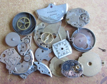 Vintage WATCH PARTS gears - Steampunk parts - b2 Listing is for all the watch parts seen in photos