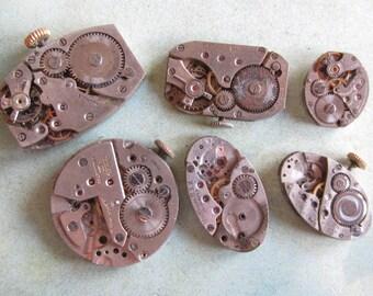 Steampunk watch parts - Vintage Antique Watch movements Steampunk - Scrapbooking j49
