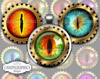 Animal Eyes - 1x1 inch Circles Digital Collage Sheet Great for Bottlecap pendants - Buy 2 Get One Free