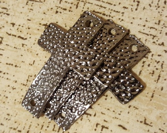 3 pcs. Antique Hammered Cross, Black, Cross Connector  Ships from USA Immediately. (Cr4)