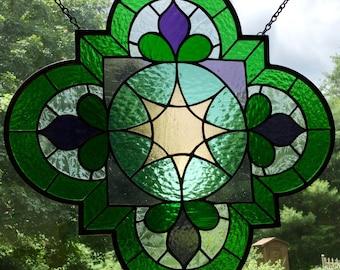 "Arabesque Purple, green, aqua, and peach Quatrefoil Stained Glass Panel, window, suncatcher gift, 18"" x 18"""