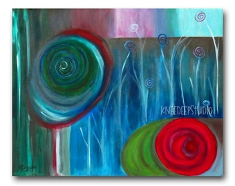 SALE Modern Abstract Painting 16x20 Fine Art on Canvas Colorful Contemporary Circles Spirals Flowers Large Format Art Original Wall Decor