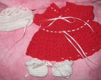 Crochet Doll Dress, Hat and Booties
