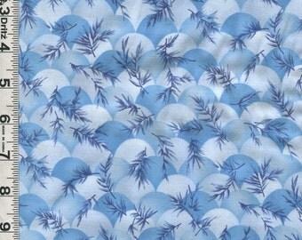 Fabric Hoffman KIMONO Japanese asian tonal blue coordinate scallops leaves