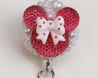 Minnie Mouse Hot Pink Silhouette ID Badge Reel - Retractable ID Badge Holder - Zipperedheart