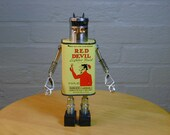 RED DEVIL Found Object  Robot Sculpture Assemblage Recycled Repurposed Vintage