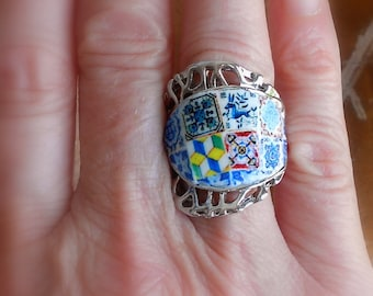 Portugal Antique Azulejo Tile Replica Ring- individually Placed US size US size 7 1/2, 18mm or UK P OoAK