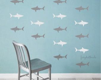 Shark wall decal, mako shark, boy bedroom, shark sticker, vinyl wall decal, surfer ocean decor, beach house decals, great white sharks, fish