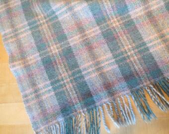 "Vintage Plaid Wool Blanket THROW Blue Pink Brown Gray Plaid Fringe 46 x 64"" with 3"" Fringe"