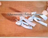 Elite Satin Cake Server Set with Rhinestone Accent ..You Choose The Bow Colors..shown in light blue