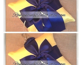 Pet Ring Bearer Pillow Large Size...Made in your custom wedding colors...SET OF 2....show in yellow/navy blue