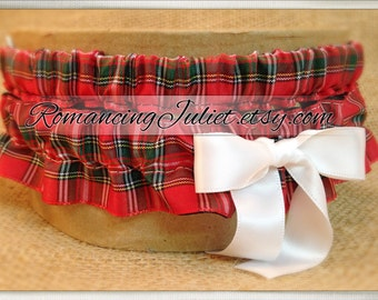 Classic Tartan Skirted Satin Bridal Garter Set....Custom Colors Available..shown with white accent