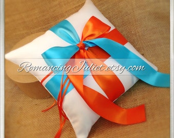 Romantic Satin Color Block Ring Bearer Pillow...You Choose the Colors...Buy One Get One Half Off...shown in ivory/turquoise/orange