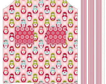 SPRING SALE - Merry Matryoshka - Apron Panel in Red - Sku P4384 - by Carly Griffith for Riley Blake Designs