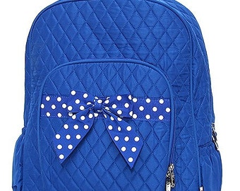 Personalized Quilted Royal/White Backpack