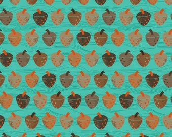 1 HALF YARD Acorns on aqua, Anthology fabrics