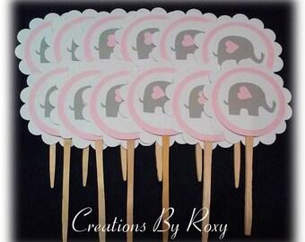 Pink & Grey Elephant Cupcake Picks set of 12