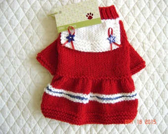 Red Dog Sweater, Hand Knit Pet Sweater, Flared Skirt, Size XSMALL, Little Salty Red