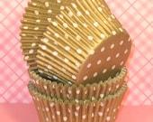 Gold Polka Dot Cupcake Liners  (40)