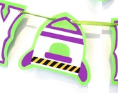 Buzz Lightyear Rocket Inspired HAPPY BIRTHDAY Banner - White on Purple and Lime Green