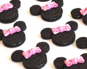 Mouse Edible Bows - 24 Count - Birthday Cupcake Toppers - Oreo Cookie Sized Edible Fondant Hot Pink Polka Dots