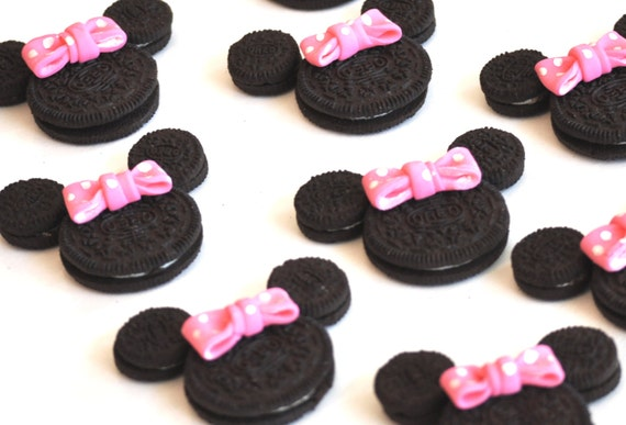 Minnie Mouse Fondant Bows - 24 Count - Birthday Cupcake Toppers - Oreo Cookie Sized Edible Fondant Hot Pink Polka Dots -  Clearance Sale