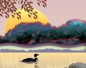 Painting ACEO Loon in Lake Autumn Sunrise, Original Graphic Design Art Card