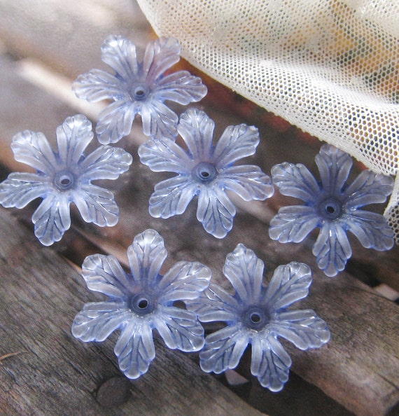 25mm - FROSTED Leafy six petals flower beads - 8 pcs (FL032-F)