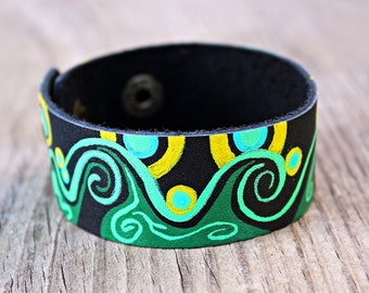 Leather Cuff Bracelets for Women, Leather Cuff Bracelet, Black Leather Bracelet, Green, Yellow, Vintaj, Hand Painted Jewelry, Boho Jewelry