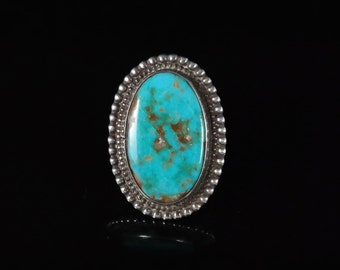 Ring, Size 6.5, Sterling Silver, Genuine Turquoise, Beaded Edge Boarder, Large Oval, Blue Stone, Turquoise Matrix