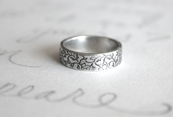 unisex wedding band ring . engraved recycled silver ring . thick silver vine leaf wedding rings . wedding bands by peacesofindigo