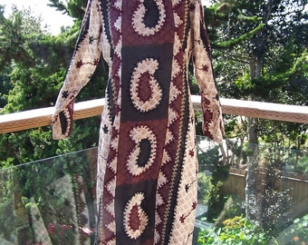 Caftan, India Tunic, Indian caftan, Hippie dress, Embroidered dress, Brown caftan, Long sleeve dress, size M / L