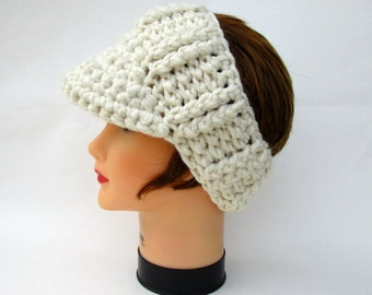 Chunky Sun Visor - SALE 25% OFF - Cream Headband With Brim - Crochet Headwear - Brimmed Ear Warmer - Visor Headband - Women's Accessories