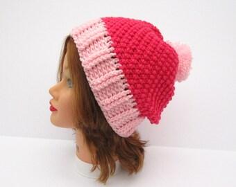 Crochet Slouchy Hat, Pink Hat, Crochet Hat, Women's Hat With PomPom, PomPom Hat, Women's Beanie, Crochet Beanie Hat, Slouchy Beanie Pink
