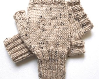 Texting Gloves for Men, Teen Boys, Handknit Fingerless Gloves, Hand Warmers, knitted gloves, men's mitts, Peruvian wool, off white, size S