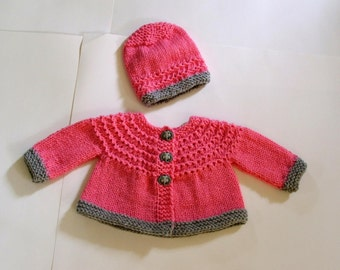 Hand Knitted -  Pink Baby Cardigan/Sweater with Grey Trim and Matching Elephant Buttons