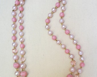 A Vintage Necklace in Pinks, Pearls,and White