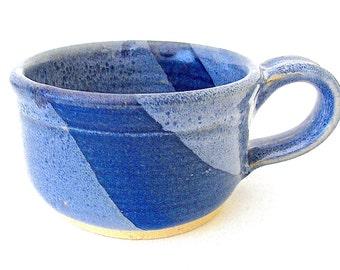 Stoneware Pottery Mug. Cobalt Blue. Blue Speckled. Delft Blue. Denim. Indigo. Coffee, Tea, Cocoa. 10 oz. Hand Thrown.