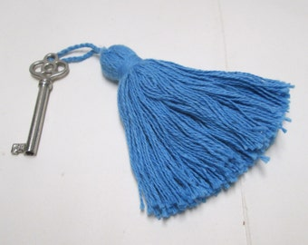 Blue Tassels 4-12 Cotton Tassels Drapery Trim Nautical Turquoise Bell Tassels Lg Furniture Key Fob Pillow Home Decor lot Baby Gift Trim