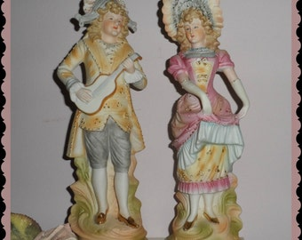 Shabby French style Figurines  bisque    Gorgeous pastel colors