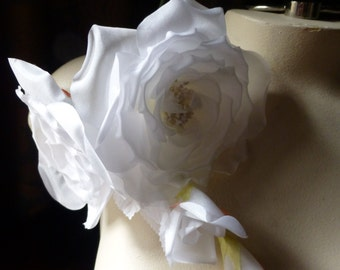 WHITE Silk ROSE Millinery Corsage for Bridal, Millinery MF 118