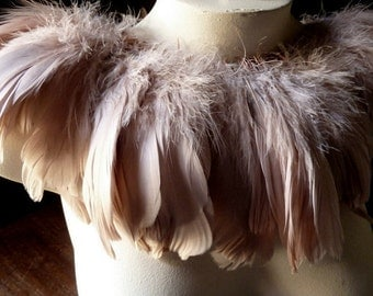 "4"" ROSE BLUSH Feathers Goose Nagoire for Bridal, Masks,Tribal Fusion, Costume Design"