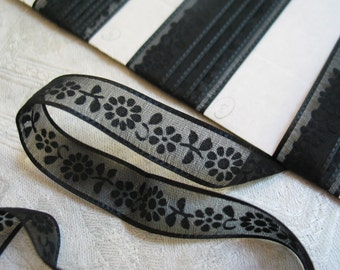 "Vintage Sheer Black Ribbon Sold by 54"" Long Pieces Floral Ribbon"