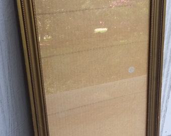 """Old Wood Frame  Aged Gold Paint Fretwork Detail with Glass 12.5"""" x 25"""""""