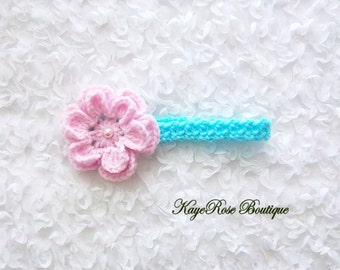 Newborn Baby Girl Crochet Pearl Flower Headband Pink and Blue