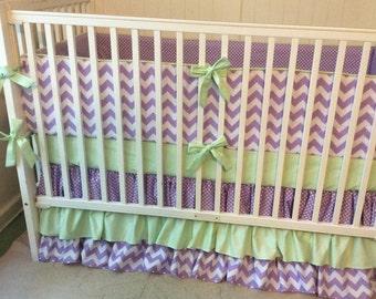 READY TO SHIP Crib Bedding Set Purple and Mint Green Modern Ruffled