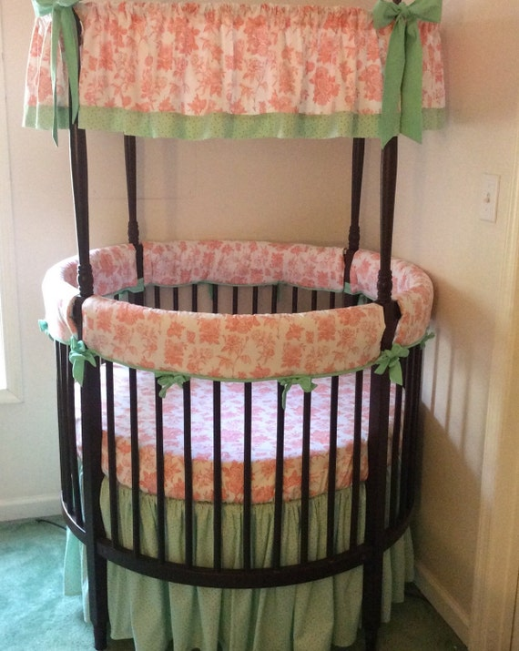 Shabby Chic Round Crib Bedding Set in Coral by butterbeansboutique
