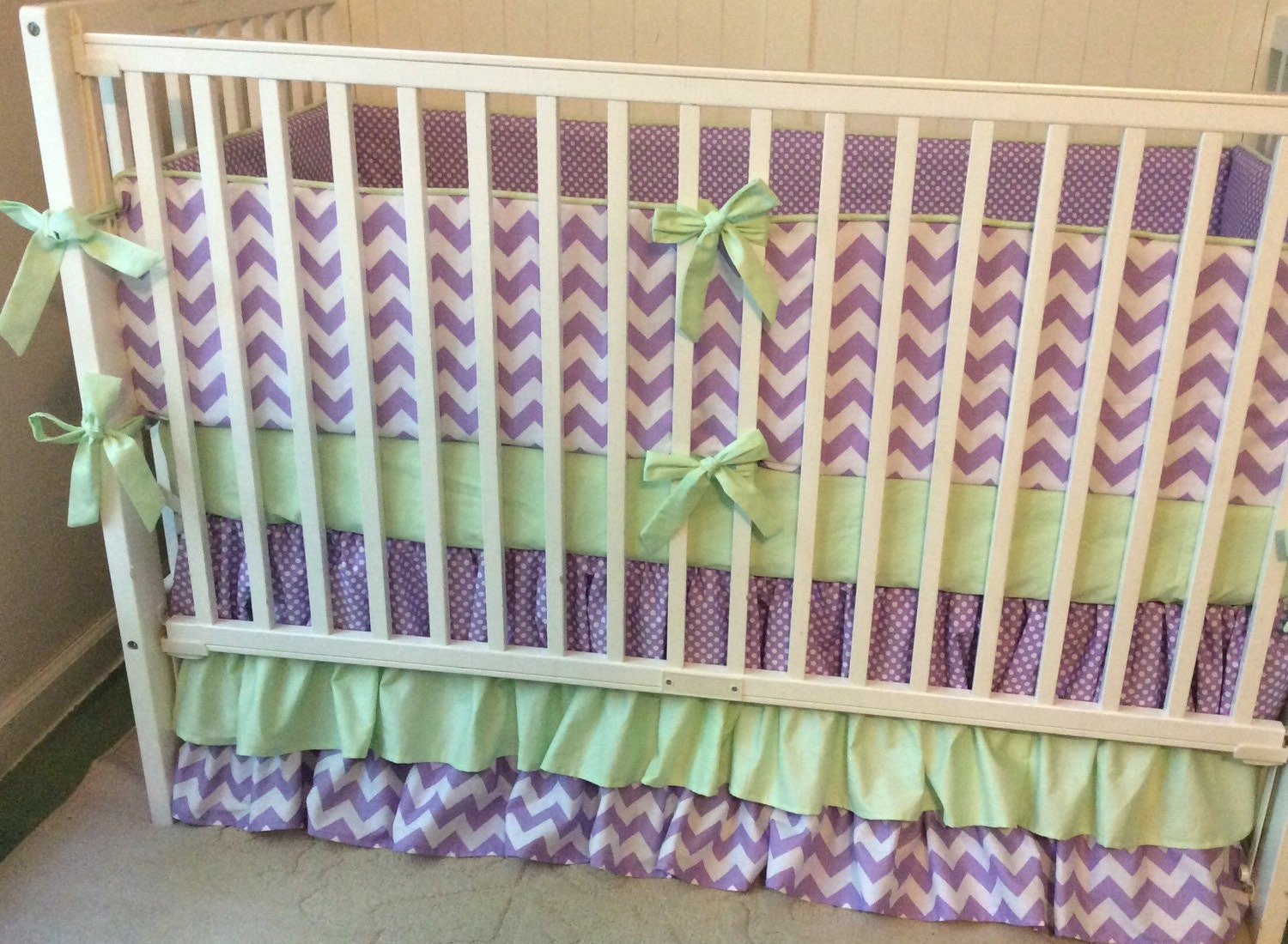 Sale crib bedding set purple and mint green by butterbeansboutique