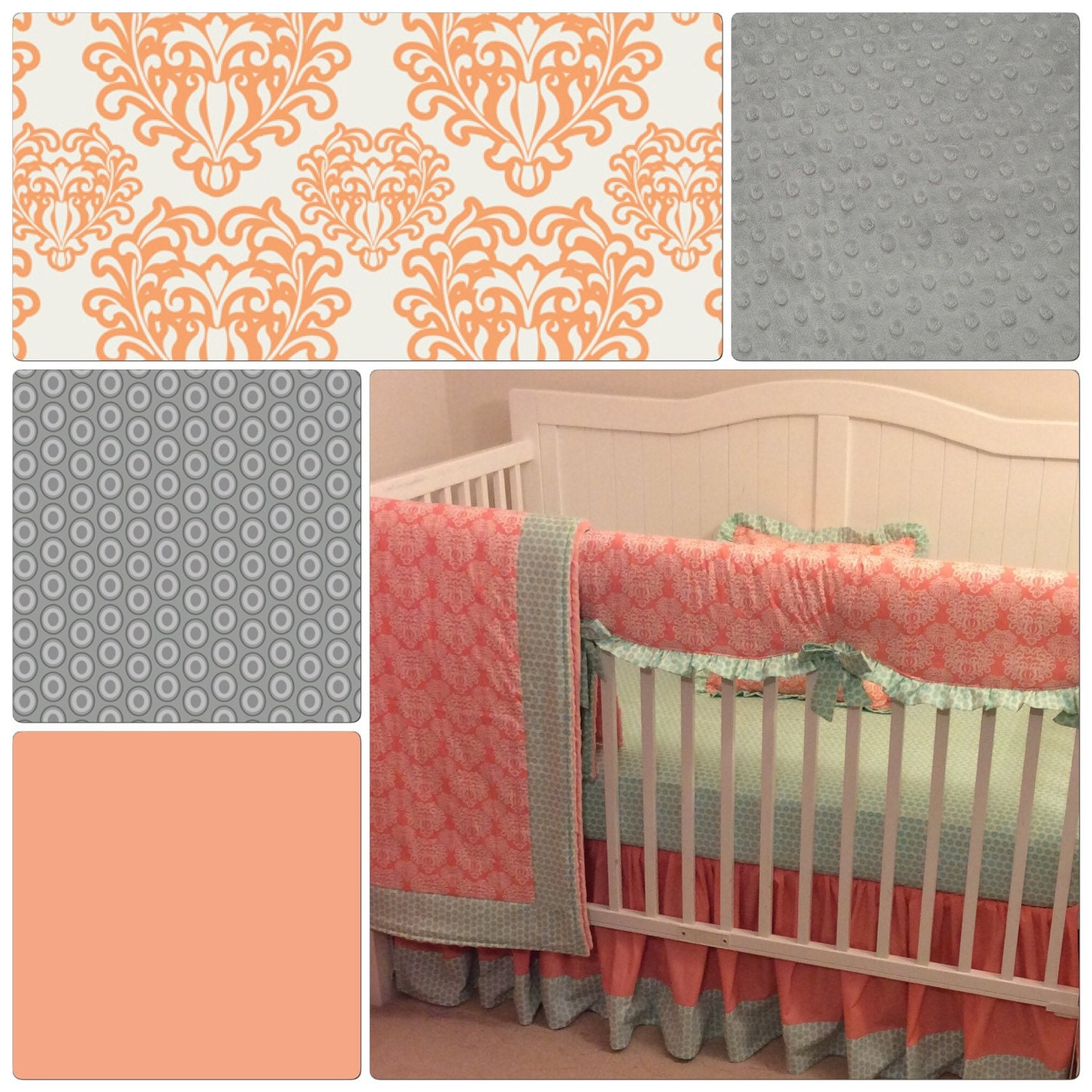 crib bedding set peach gray ruffled by butterbeansboutique on etsy. Black Bedroom Furniture Sets. Home Design Ideas