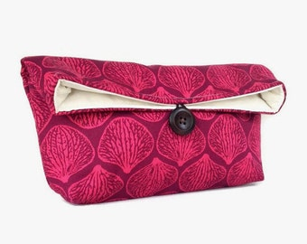 Pink on Mulberry Orchid Petal Clutch, Seashell Bridesmaid Gift, Makeup Bag, Pink Clutch Purse, Burgundy Great for Travel Gift Under 25 Shell